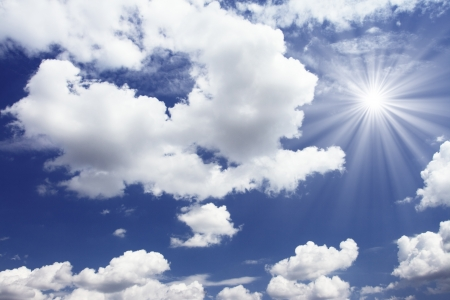 forecast: white fluffy clouds in the blue sky