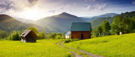 New wooden tourist house in the mountains photo