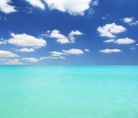 azure coast: Seascape with beautiful clouds and turquoise ocean