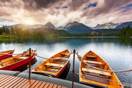 Mountain lake in National Park High Tatra  Dramatic overcrast sky  Strbske pleso, Slovakia, Europe  Beauty world  photo