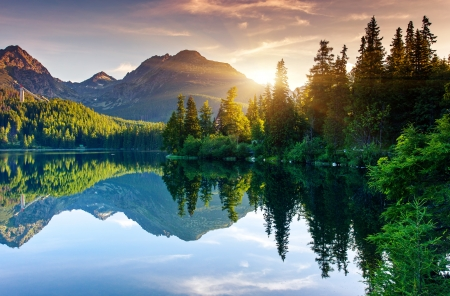 Mountain lake in National Park High Tatra  Strbske pleso, Slovakia, Europe  Beauty world