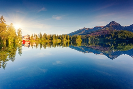 Mountain lake in National Park High Tatra  Strbske pleso, Slovakia, Europe  Beauty world  photo