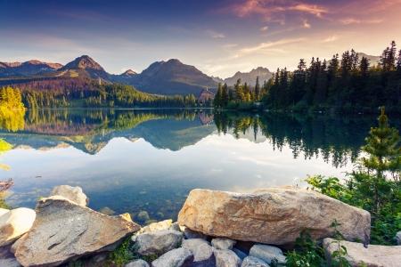 Bergmeer in Nationaal Park Hoge Tatra Strbske pleso, Slowakije, Europa Schoonheidssalon wereld