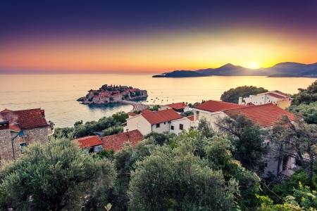 Sveti Stefan, small islet and resort in Montenegro  Balkans, Adriatic sea, Europe  Beauty world photo