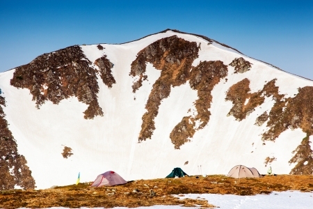 Camping tent in a high mountain environment. Carpathian, Ukraine, Europe. Beauty world. photo