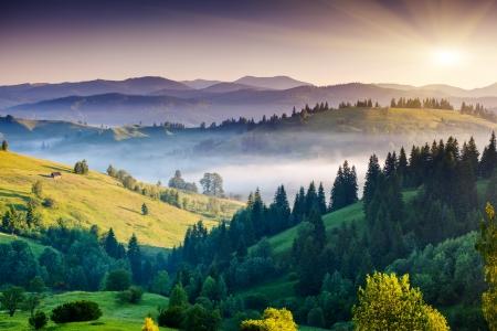Majestic sunset in the mountains landscape. Dramatic sky. Carpathian, Ukraine, Europe. Beauty world.