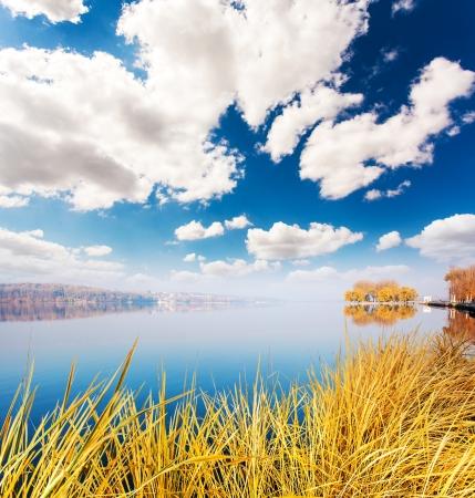 lagos: Hierba seca en el lago con el cielo azul. Ternopil, Ucrania, Europa. Mundo de la belleza.
