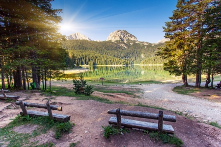 Black lake in Durmitor national park in Montenegro, Europe. Beauty world. photo