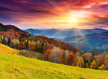 wschód słońca: jesień krajobraz górski z kolorowych lasów Zdjęcie Seryjne