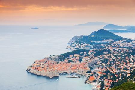 adriatic sea: Majestic colorful sunset on old town of Dubrovnik, Croatia. Balkans, Adriatic sea, Europe. Beauty world.