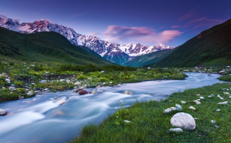shkhara: River in mountain valley at the foot of  Mt. Shkhara. Upper Svaneti, Georgia, Europe. Caucasus mountains. Beauty world.
