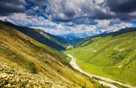svaneti: Beautiful view of alpine meadows. Upper Svaneti, Georgia, Europe. Caucasus mountains. Beauty world.