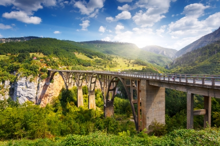 fantastic view: Old big bridge in Durdevica and fantastic view Tara river gorge - is the biggest one canyon in Europe in the national park Durmitor, Montenegro. Balkans. Beauty world.