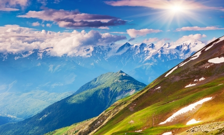 Beautiful view of alpine meadows. Upper Svaneti, Georgia, Europe. Caucasus mountains. Beauty world.