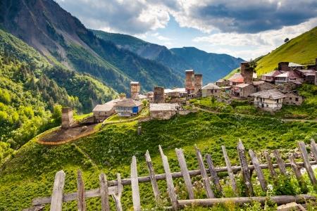 world village: View of the village Adishi. Upper Svaneti, Georgia, Europe. Caucasus mountains. Beauty world.