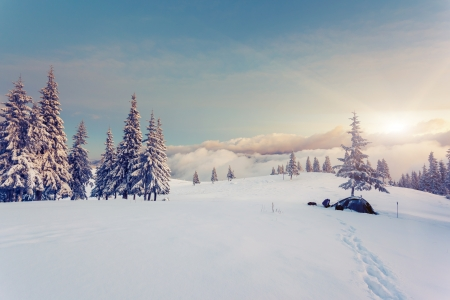 Fantastic winter landscape. Blue sky. Carpathian, Ukraine, Europe. Beauty world. Banco de Imagens