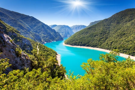 landscape: The Piva Canyon with its fantastic reservoir. Montenegro, Balkans, Europe. Beauty world.