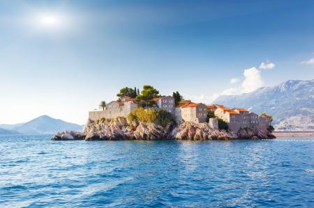 islet: Sveti Stefan, small islet and resort in Montenegro. Balkans, Adriatic sea, Europe. Beauty world.