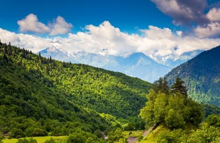 Beautiful view of alpine meadows. Upper Svaneti, Georgia, Europe. Caucasus mountains. Beauty world. photo