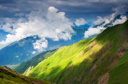 caucasus: Beautiful view of alpine meadows. Upper Svaneti, Georgia, Europe. Caucasus mountains. Beauty world.