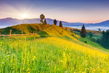 Majestic sunset in the mountains landscape. Carpathian, Ukraine, Europe. Beauty world. Banco de Imagens