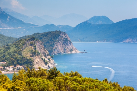 Sunny day and beautiful landscape over Montenegro coastline. Balkans, Adriatic sea, Europe. Beauty world. photo