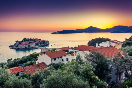 Sveti Stefan, small islet and resort in Montenegro. Balkans, Adriatic sea, Europe. Beauty world photo