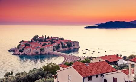 Sveti Stefan, small islet and resort in Montenegro. Balkans, Adriatic sea, Europe. Beauty world Zdjęcie Seryjne