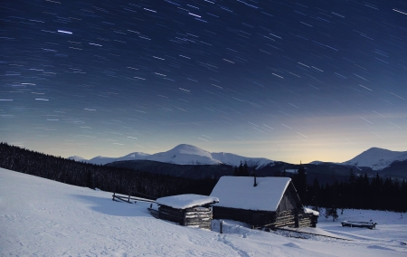 Majestic Milky Way in the winter mountains landscape photo