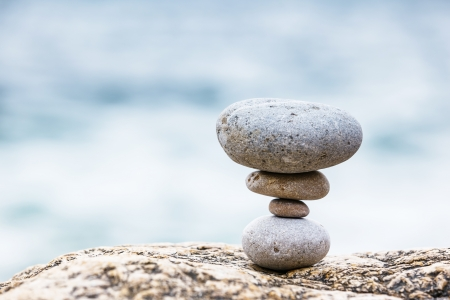 Stones balance, pebbles stack over blue sea. Crimea, Ukraine, Europe. Beauty world. Stock Photo - 22514190