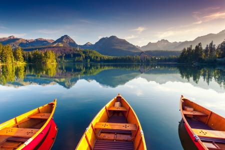 Mountain lake in National Park High Tatra. Strbske pleso, Slovakia, Europe. Beauty world.