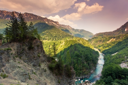 tara: Wonderful view Tara river gorge - is the second biggest canyon in the world and the biggest one in Europe in the national park Durmitor in Montenegro. Balkans. Beauty world. Stock Photo