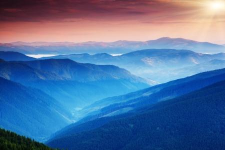 carpathian mountains: Majestic sunset in the mountains landscape. Carpathian, Ukraine.