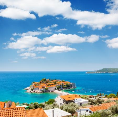 montenegro: Sveti Stefan, small islet and resort in Montenegro. Balkans, Adriatic sea, Europe. Beauty world.