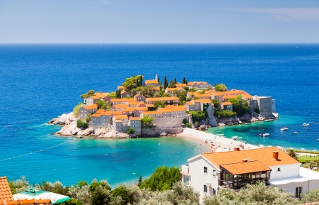 Sveti Stefan, small islet and resort in Montenegro. Balkans, Adriatic sea, Europe. Beauty world. photo