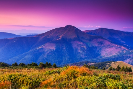 Majestic sunset in the mountains landscape. Carpathian, Ukraine. photo