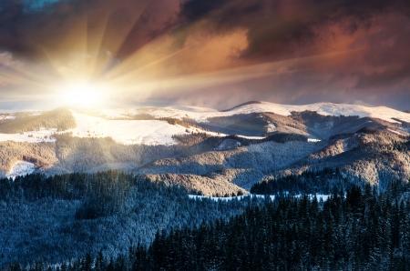 Majestic sunrise in the mountains landscape.Carpathian, Ukraine. photo