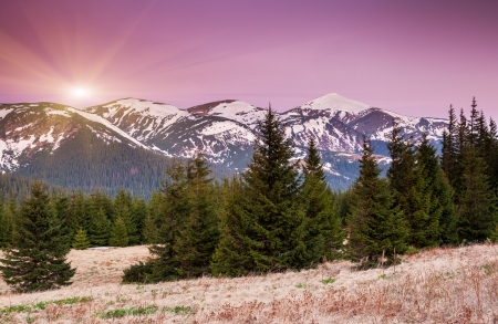 Majestic sunrise in the mountains landscape. Carpathian, Ukraine. Europe photo