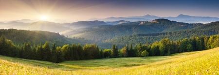 Majestic sunset in the mountains landscape. Carpathian, Ukraine, Europe.