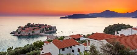 sveti: Sveti Stefan, small islet and resort in Montenegro. Balkans, Adriatic sea, Europe. Beauty world Stock Photo
