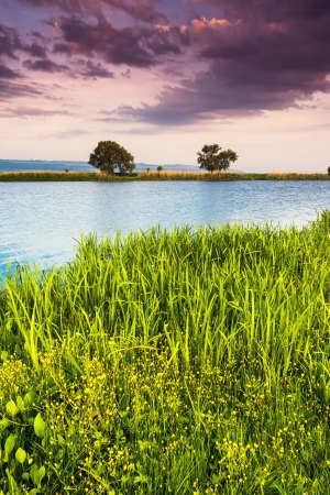 sinuous: Beautiful view of sinuous river in summer. Dramatic overcast sky. Southern Buh River, Ukraine, Europe. Beauty world.