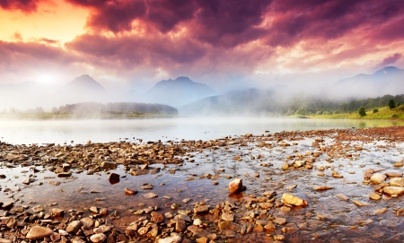 sinuous: Beautiful view of sinuous river in summer. Dramatic overcast sky. Dnister River, Ukraine, Europe. Beauty world.