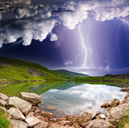 magical forest: Thunderstorm with lightning in mountain landscape