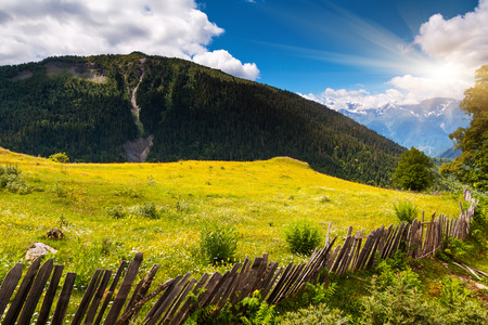 Beautiful view of alpine meadows. Upper Svaneti, Georgia, Europe. Caucasus mountains. Beauty world. photo