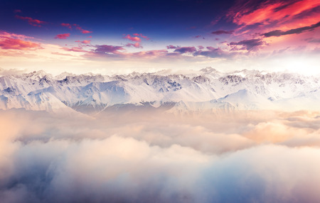 Fantastic evening landscape in the Swiss Alps. Colorful overcast sky. Europe. Beauty world.  photo