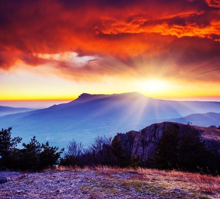 Majestic morning mountain landscape. Dramatic overcast sky. Crimea, Ukraine, Europe. Beauty world. Standard-Bild