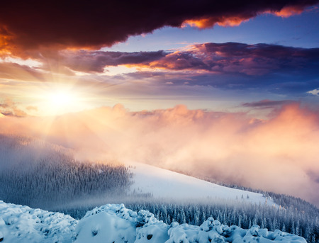 Fantastic evening winter landscape. Colorful overcast sky. Carpathian, Ukraine, Europe. Beauty world. Stock Photo