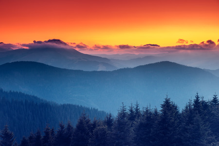 Fantastic morning mountain landscape. Overcast colorful sky. Carpathian, Ukraine, Europe. Beauty world. photo