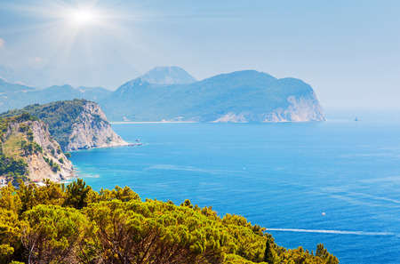 montenegro: Sunny day and beautiful landscape over Montenegro coastline. Balkans, Adriatic sea, Europe. Beauty world.