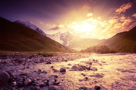 Fantastic landscape and overcast sky at the foot of  Tetnuldi glacier. Upper Svaneti, Georgia, Europe. Caucasus mountains. Beauty world. photo